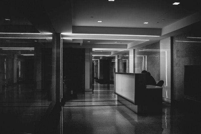 Man alone in office building