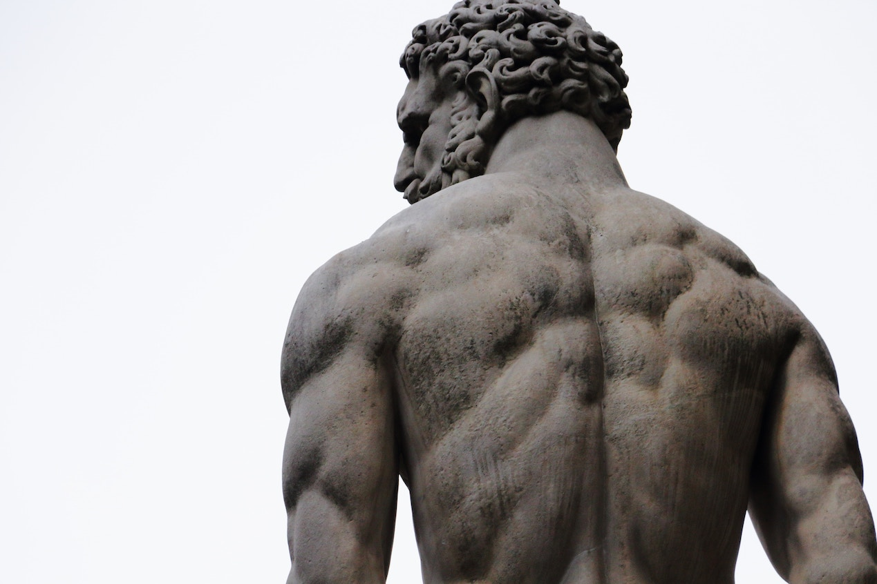 Sculpture of muscly back