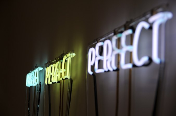 Neon signs that say 'perfect'