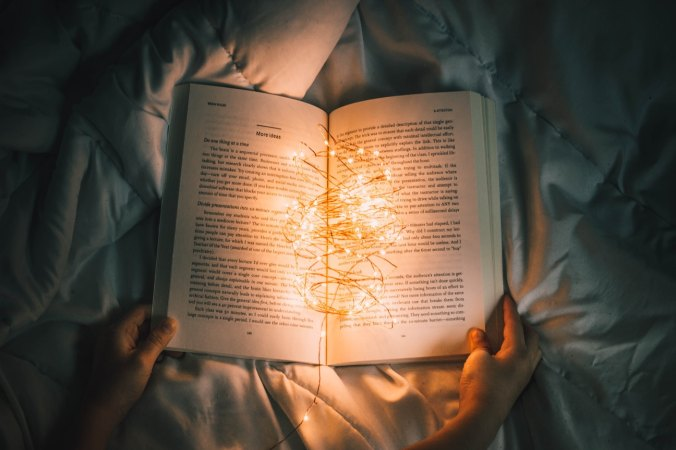 Book with lights in the middle
