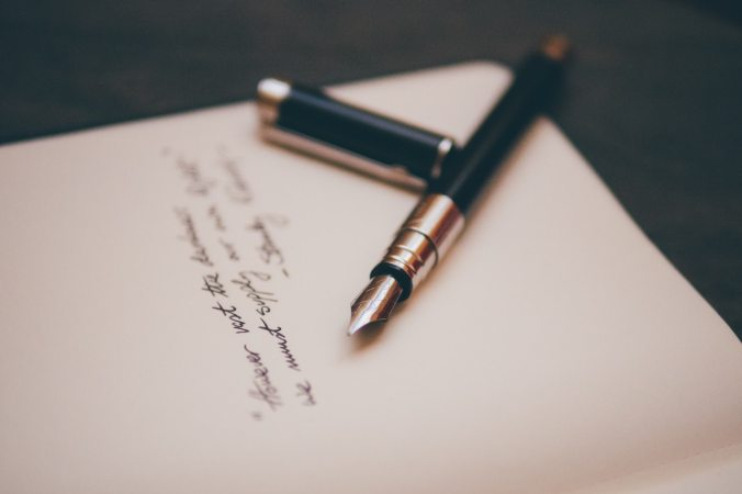 Fountain pen and cursive writing