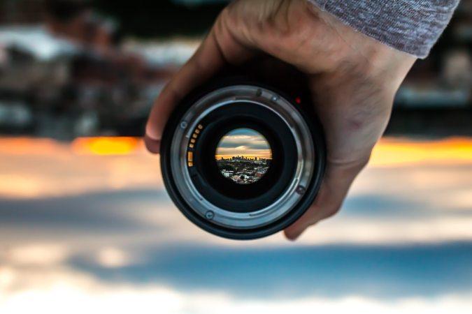 Lens focusing on upside down landscape