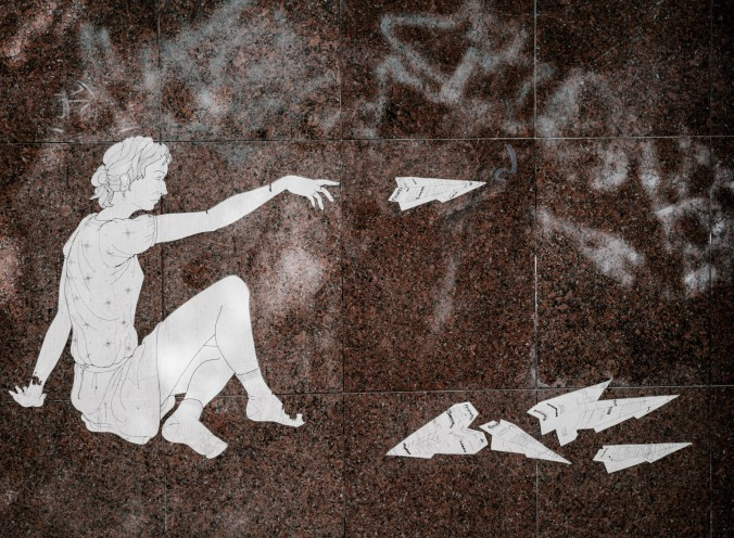 Drawing of woman throwing paper planes