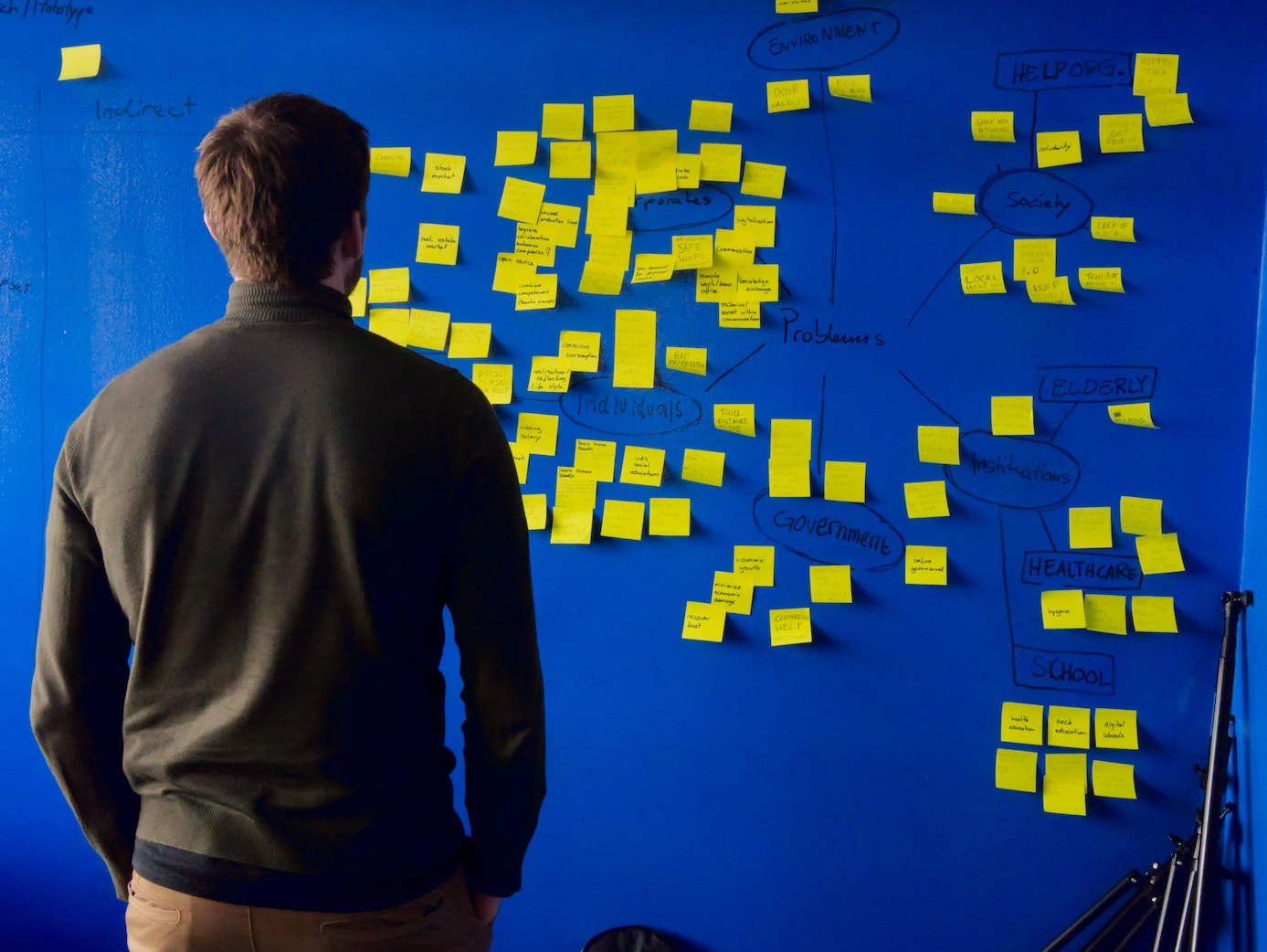 Man staring at a bunch of post-it notes