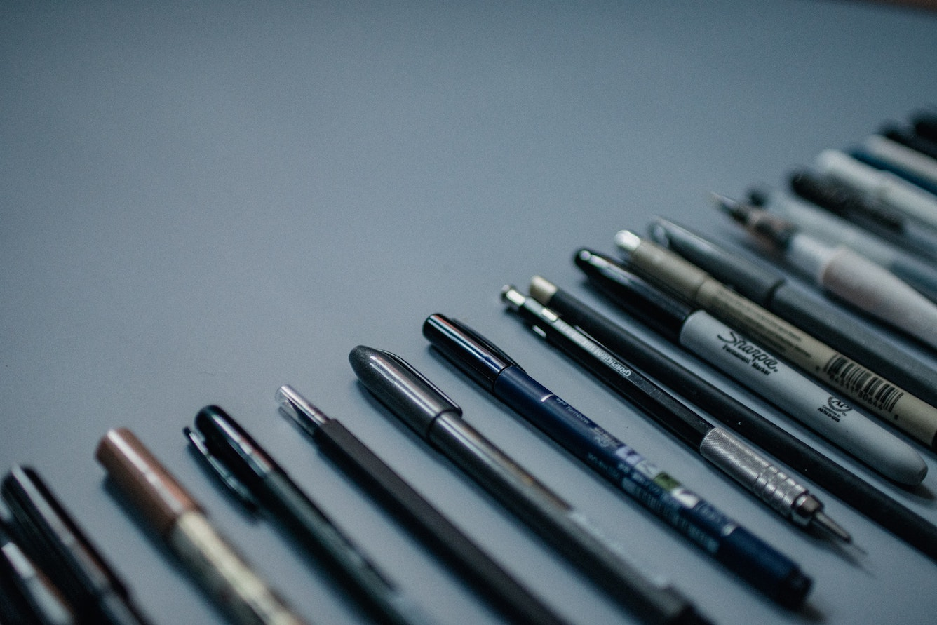 A collection of pens from Sharpies to Pigma Microns