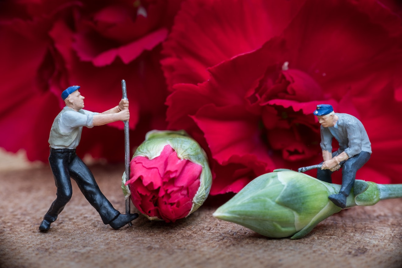 Men figurines doing farm work on flowers