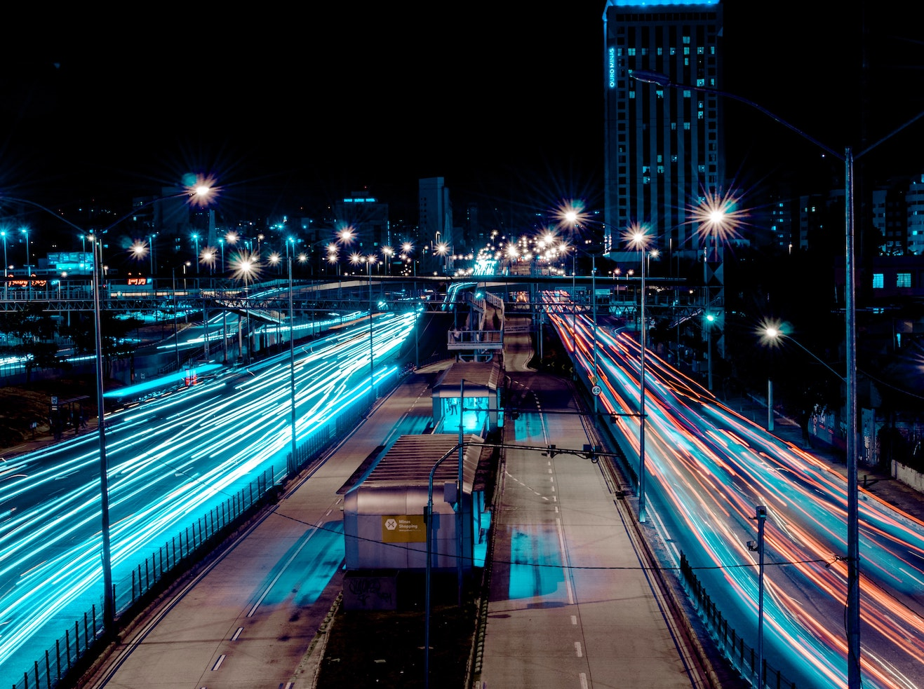 Photo of a busy highway at night